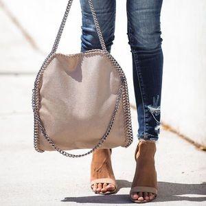 Faux Suede Chain Handbag